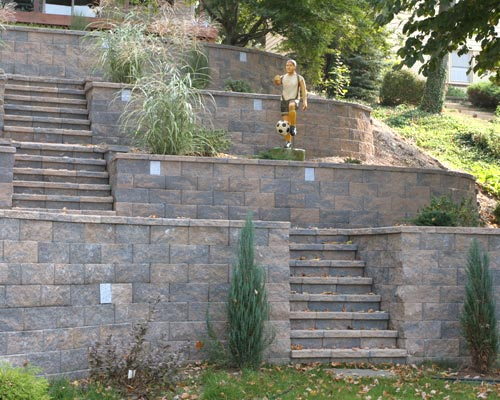 Attractive Omega Retaining Wall In Watchuesett Blend With Stairs